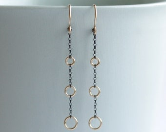 Mixed Metal Long Earrings, Gold and Silver
