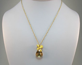 Gold Orchid Necklace - Swarovski Briolette Crystal Necklace - Everyday Simple Necklace - Gold Filled Figure 8 Chain - 40% OFF