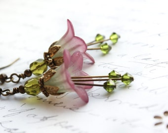 Lucite Flower Earrings Berry Purple Dangle Moss Green Crystal Drop Spring Woodland Fairytale Pixie Fairie Faerie Nature Inspired Jewellery
