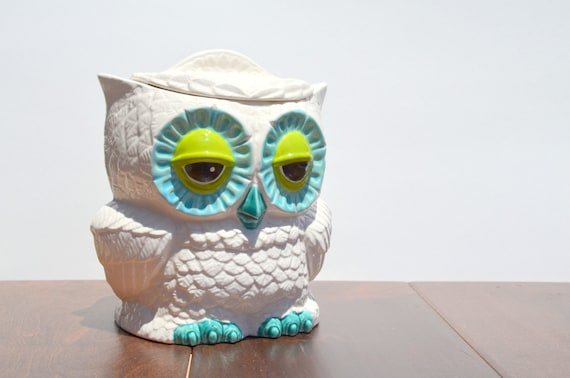 Vintage Custom Ceramic Small Owl Cookie Jar Turquoise By Modclay
