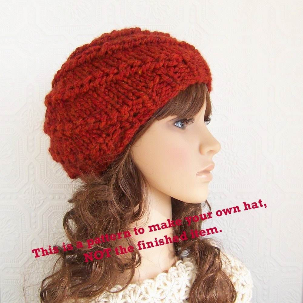 Knitted Beanie Patterns For Adults : Instant download knitting hat pattern adult hat beanie