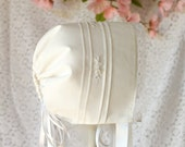 Hand-embroidered Heirloom Baby Bonnet