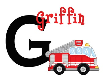 Firetruck Wall Decal Decor Kids Decal Personalized Nursery OHSC
