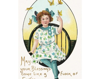 Butterfly Easter Card - Repro Vintage HBG Greeting Card