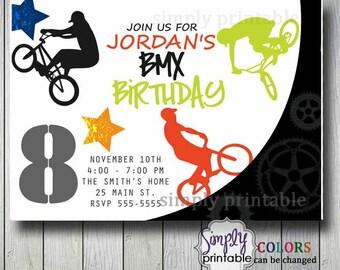 Extreme Biking BMX Boys Birthday Invitation