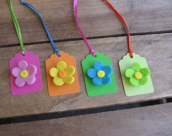 Felt Flower Gift Tags, Set of FOUR, Bold Easter Flower Tags, Floral Tags
