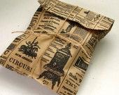 100 Newspaper Print Kraft Bags Newsprint Vintage Style 6 1/4 x 9 1/4 inches - Style 1