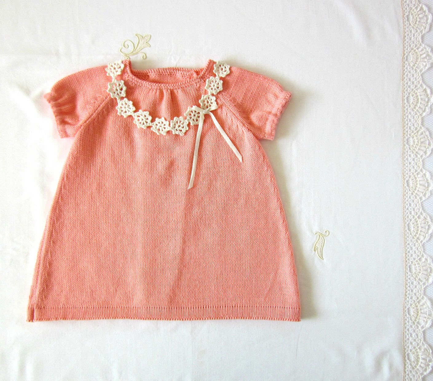 Knitted baby dress coral Crochet necklace cotton READY