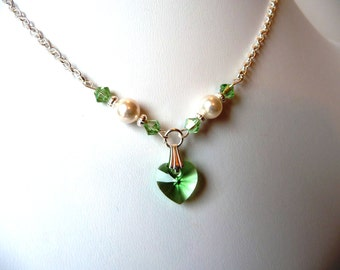 Flower Girl Jewelry Necklace, Pearl & Crystal Heart Necklace, Kids Jewelry, Childrens Jewelry, Junior Bridesmaid, Peridot, Dress Up