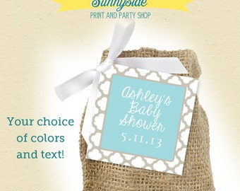 Trellis Square Favor Tag for Baby or Bridal Shower  - Printable