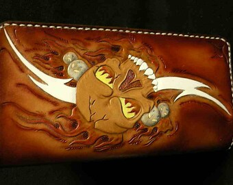 Leather wallet , skulls wallet , day of the dead , custom leather wallets , cool wallets , checkbook wallet