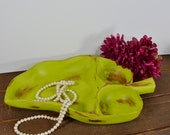 Rustic wood tray with compartments, large distressed wood tray, jewelry display, chartreuse, shabby chic