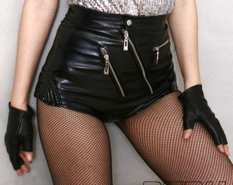 80's Glam Punk Rock Disco Dance High Waist Hot Leather Shorts Vegan Black Pin Up