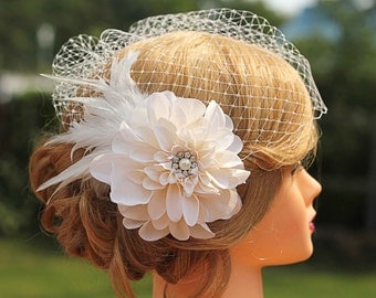 Flower Feather Birdcage Veil-Large Ivory Flower Wedding Fascinator - Bridal Headpiece
