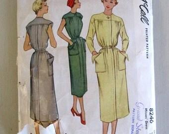 1950s Dress & Belt Pattern, McCall 8246, Tubular Pullover Day Dress, Yoke, Cap Sleeves, Push Up Sleeves, Tie Belt, Size 12-16, Bust 30 - 34