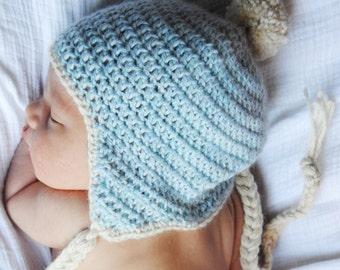Baby Boy Pom Pom Hat for Newborn in Soft Blue Alpaca