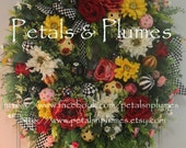 Spring Summer Wreath-Mother's Day- Black White Checked Checkerboard Ornaments-Petals & Plumes Original-Listing- 3 Additional for 2016