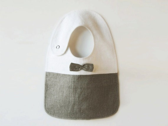 Linen bow tie baby bib. Water resistant. Made by Lovely Home Idea