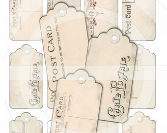 SHABBY CHIC POSTCARD Tags - Ephemera - Hang Tags - French Country - Digital Collage Sheet  - Note Cards