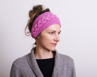 Knitted Headband Ear Warmer braid Cable knit - Button Closure or Hair Band Pink