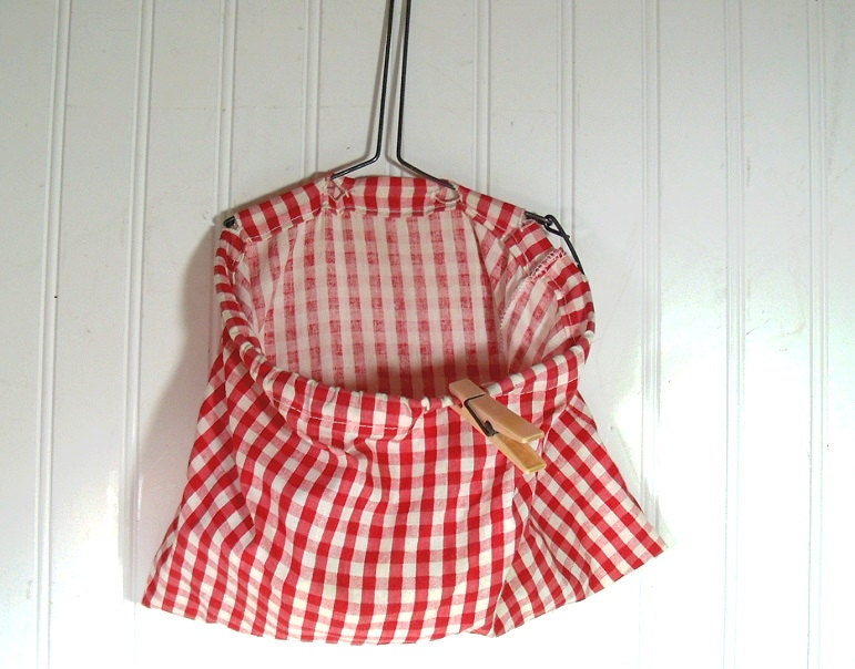 Vintage Clothespin Bag Retro Red Gingham Fabric On