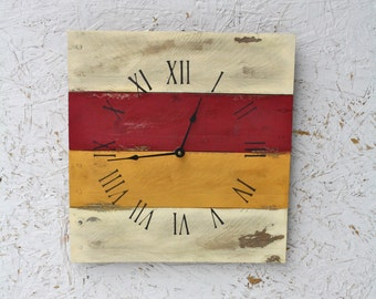 PALLET WOOD Clock...Reclaimed. ReCycled. Wall clock in Red and Mustard.  Choose your colors
