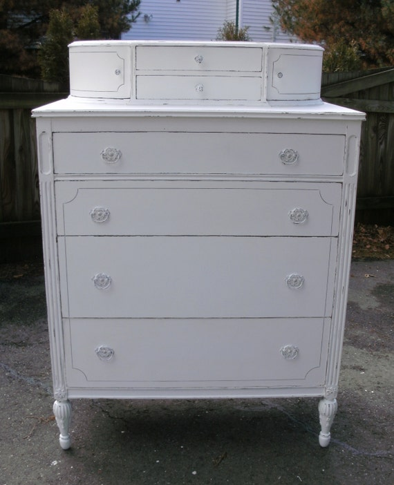 Beautiful Antique Shabby Chic Tall White Dresser