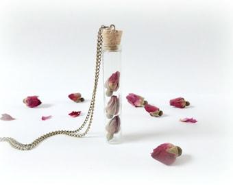 Rosebuds bottle terrarium necklace Original Valentine gift curiosity vial pink real dried flower Botanical Specimen Nature lover woodland