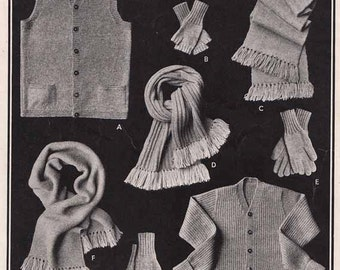 Mens Retro Cardigan  1940s/50s VINTAGE KNIT PATTERN, Fingerless Mitts/Gloves, Scarf, Waistcoat, Preppy/Geeky, Pdf from GrannyTakesATrip 0186