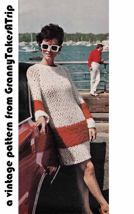 Knitting Pattern Jumper Dress : 1960s Chunky Sweater Dress VINTAGE KNIT PATTERN Oversized