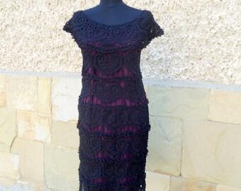 Black Crochet Dress, Little Black Dress, Lace Wedding Dress, Hearts Motif Dress,  Women Handmade Dress, Summer Dress, Lacy Black,