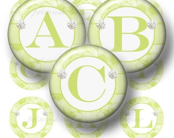 """Green Daisy ALPHABETS Bottle Cap Images Digital Collage Sheets 1"""" Inch Circles Instant Download, Printable Alphabet, Digital Download"""