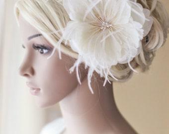 Bridal Flower Wedding Hair Flower Fascinator Ivory, wedding hair accessories, wedding headpiece - Lisette