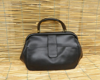 Vintage Lady's 1980's Small Size Black Brown Faux Leather Doctor's Style Hand Bag