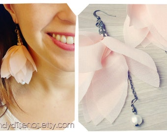 Custom Lotus Earrings pink flowers Nature Boho Whimsical Fairy Tale Jewelry. Reserved for Gloria