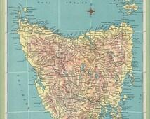 1940 Map Tasmania, Northern Territory, atlas map