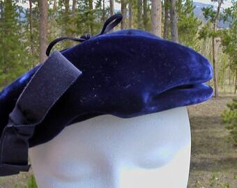 Vintage Navy Blue Velvet Hat Blue Velvet Beret