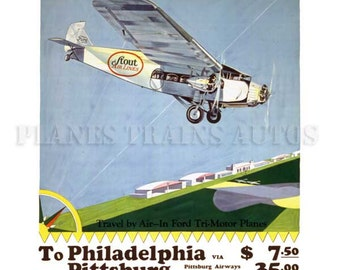 Vintage Airline Poster. Stout Air Lines Ford Trimotor 1929. PRINT