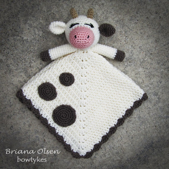 Free Crochet Pattern For Lovey Blankets : Cow Lovey CROCHET PATTERN instant download blankey blankie