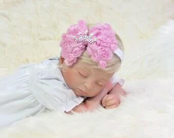 READY TO SHIP: Crown Pink Chiffon Rosette Bow Headband, Tiara headband, baby headband, infant headband, Newborn headband, Photography Prop.