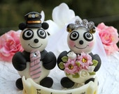 Panda bear wedding cake topper, pilot hat for groom, tiara for bride, personalized wedding