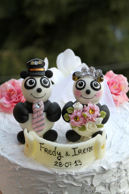 Panda Bear Wedding Cake Topper Pilot Hat For Groom Tiara