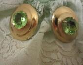 Vintage Signed Bergere Green Rhinestone Clip Earrings