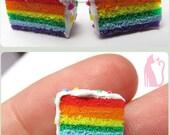 Mini Rainbow Stud Earrings Polymer Clay by Talty