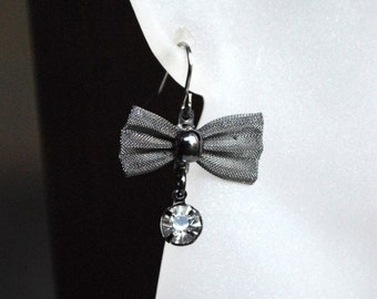 Cute Bow Earrings -- Charcoal Bows, Silver Crystals, Silver
