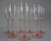 Pink Wine Glasses Flute 6 fl. oz.  A Pair of France Lumnarc' Ware