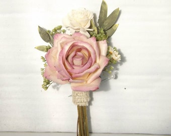 Rose Boutonniere Parchment Paper with Dried Flowers, Sola Flower, Pink and Cream with Burlap