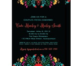 Fiesta Mexican Couples Shower Invitations, Rehearsal Dinner Invitation, Printable or Printed