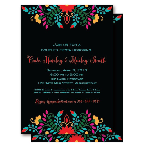 Fiesta Mexican Couples Shower Invitations Rehearsal Dinner