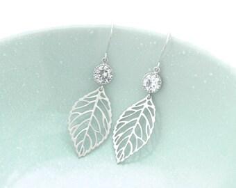 Silver Leaf Earrings, Sterling Silver Ear Wire, Bridal jewelry, Dangling Earrings, Gift for Sisters.